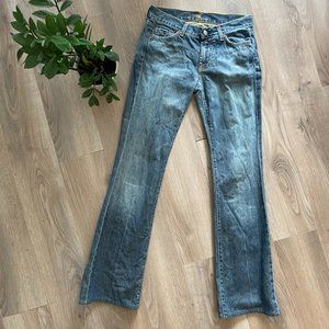 7 For All Mankind Mid-Blue Boot Cut Mid-Rise Jeans